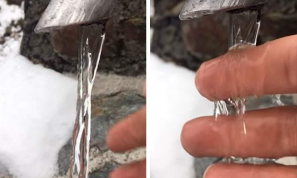 Оптическая иллюзия с замёрзшей струёй