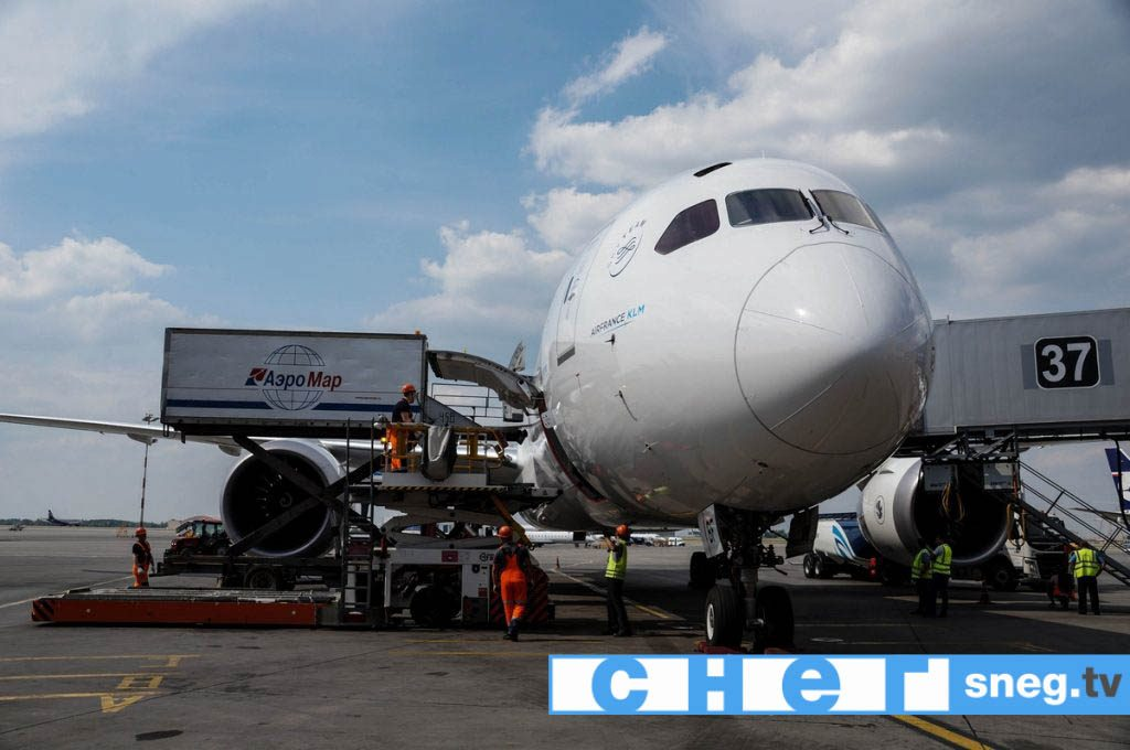 Погрузка багажа на Boeing-787-9 Dreamliner